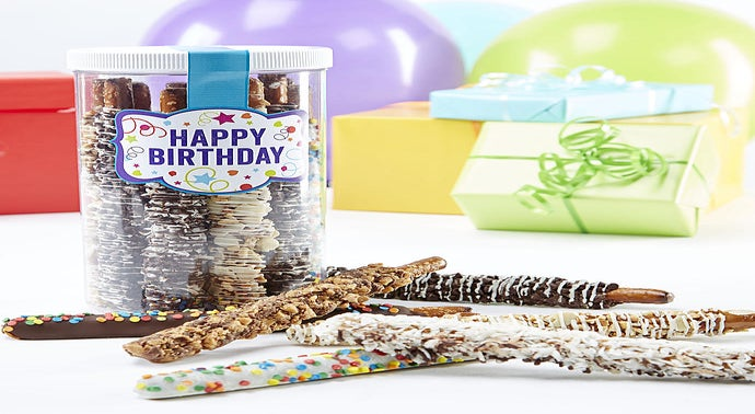 Happy Birthday Deluxe Dipped Pretzels in Jar