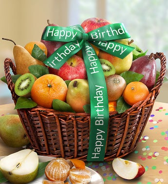 Happy Birthday Premier Orchard Fruit Gift Basket