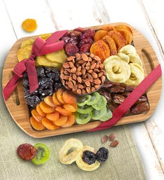 Natural Bamboo Handled Tray with Fruits  Nuts