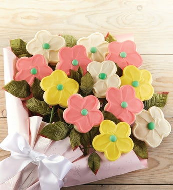 Cheryls Buttercream Frosted Long Stemmed Cookie Flowers