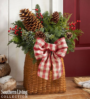 Welcome Winter Evergreen Basket by Southern Living