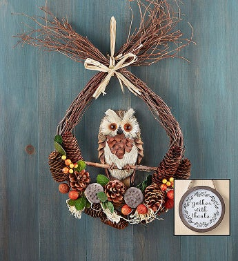Preserved Fall Owl Wreath - 18 With Free Plaque