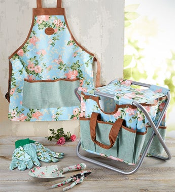 Gardeners Stool And Tools Apron And Gloves