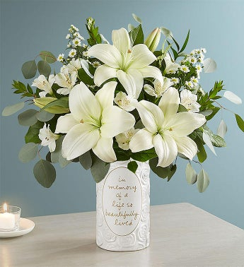White Lily Bouquet for Sympathy