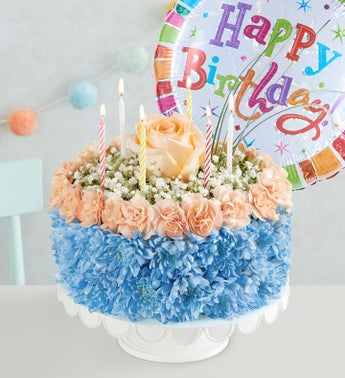 Birthday Wishes Flower Cake  Coastal