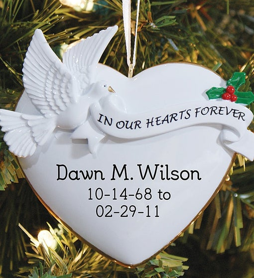 Personalized in Our Hearts Memorial Ornament