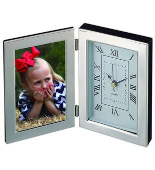 Engraved Silhouette Photo Frame  Clock