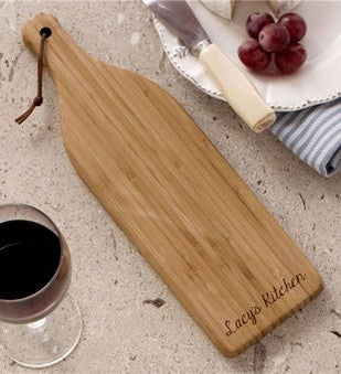 Engraved Bamboo Wine Bottle Cheese Cutting Board