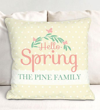 Personalized Hello Spring Polka Dot Throw Pillow