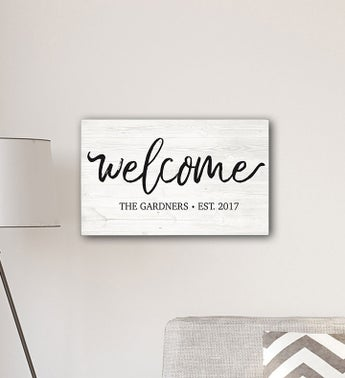 Personalized Welcome Modern Farmhouse 14 x 24 Canvas Sign