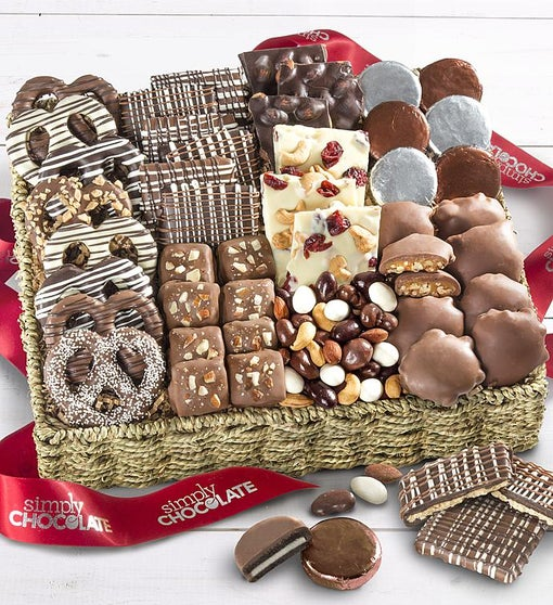 Simply Chocolate Deluxe Nuts & Confections Basket