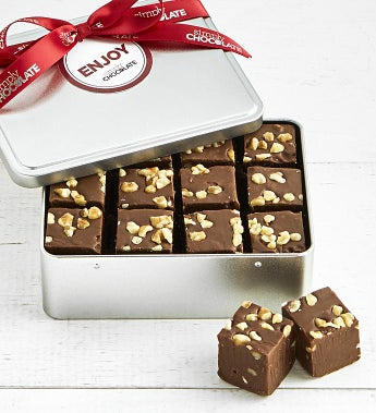Simply Chocolate Fudge Tin with Walnuts
