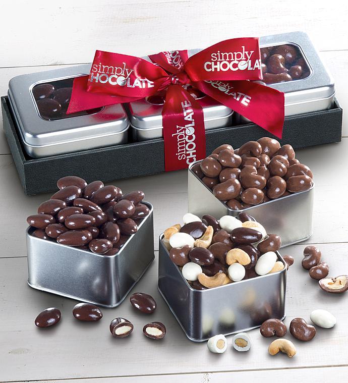Simply Chocolate Nut Tin Trio