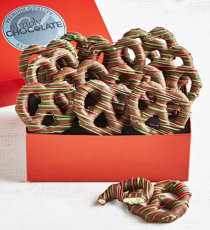 Simply Chocolate Holiday Chocolate Pretzel Twists