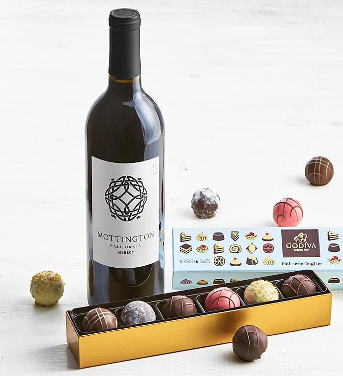 Godiva Patisserie Truffles Box  Merlot Wine