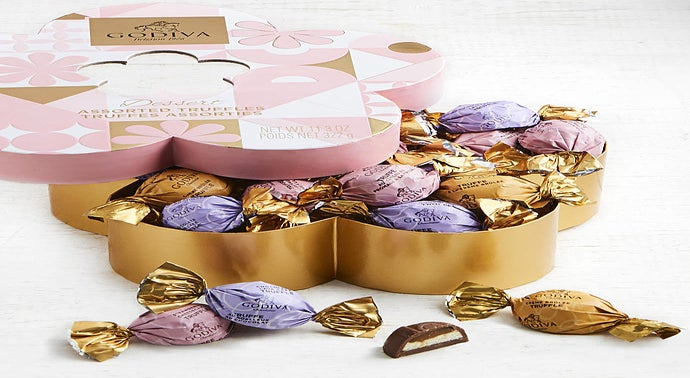 Godiva Spring Flower Shaped Dessert Truffles Box