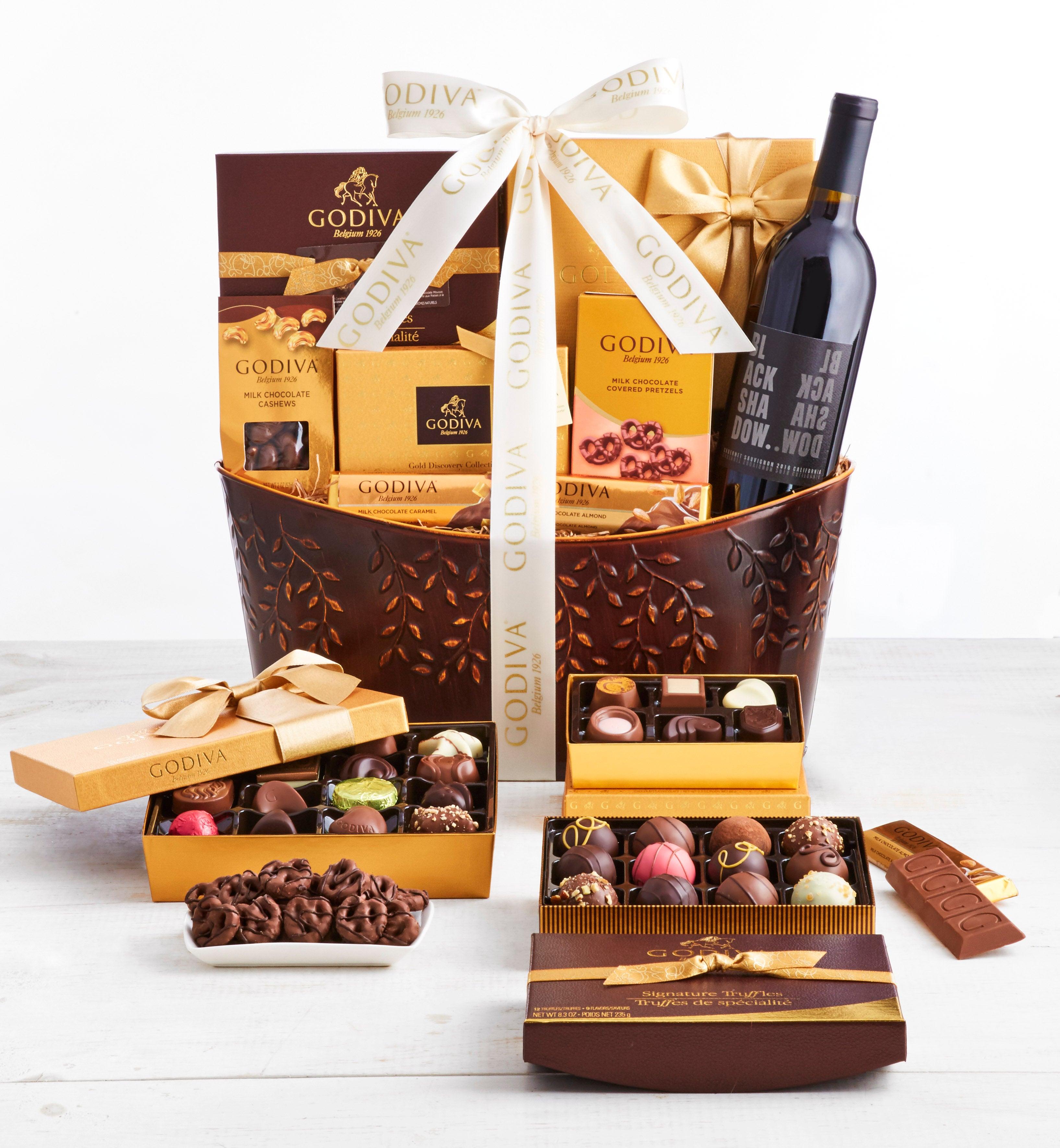 Exclusive Godiva Supreme Chocolates  Wine Basket