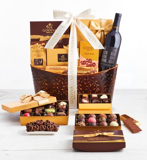 Exclusive Godiva Supreme Chocolates & Wine Basket