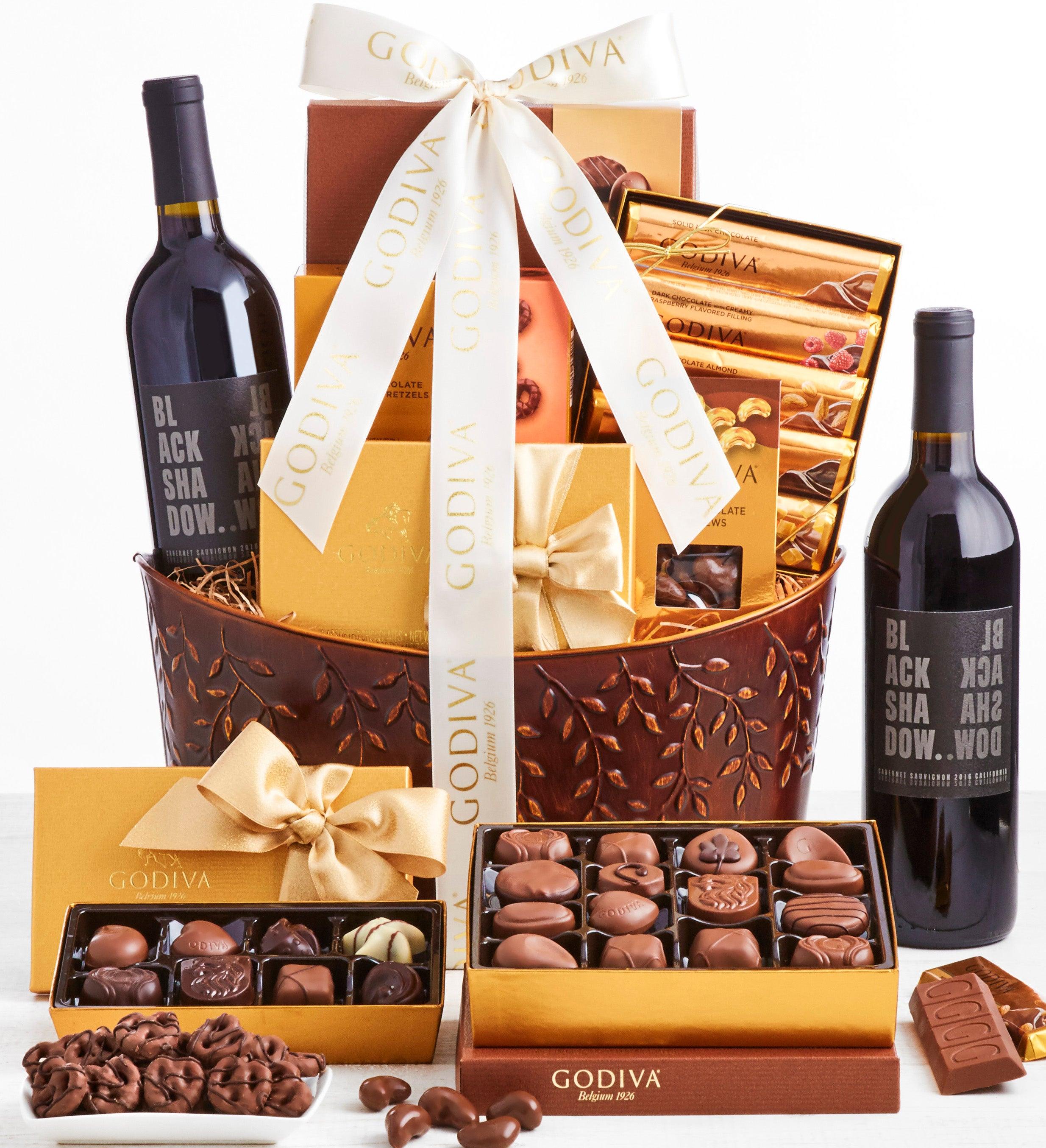 Exclusive Godiva Grand Chocolates  Wine Basket