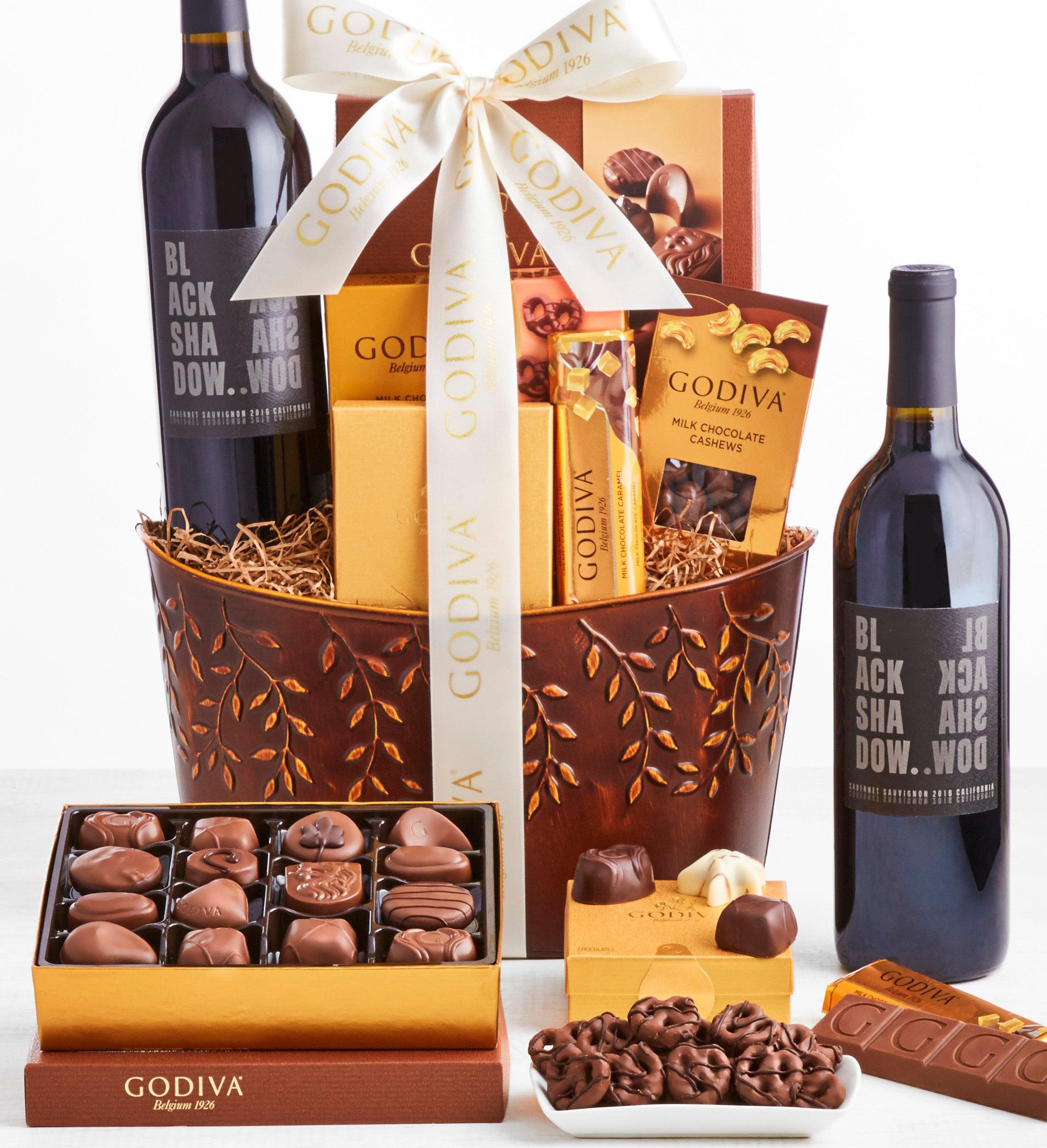 Exclusive Godiva Deluxe Chocolates  Wine Basket