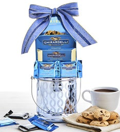 Ghirardelli Sweets in Blue Mercury Glass Gift