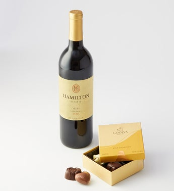 Godiva 4pc Ballotin with 2016 Hamilton Merlot