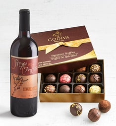 Godiva Signature with Dreamcatcher Malbec Wine