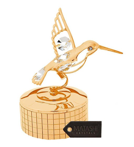 Gold Plated Music Box with Hummingbird