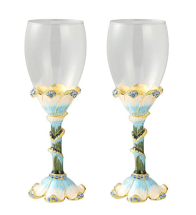 Hand Painted Long Stem Wine Glass Set