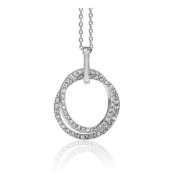 Circle Necklace with Sparkling Clear Crystals