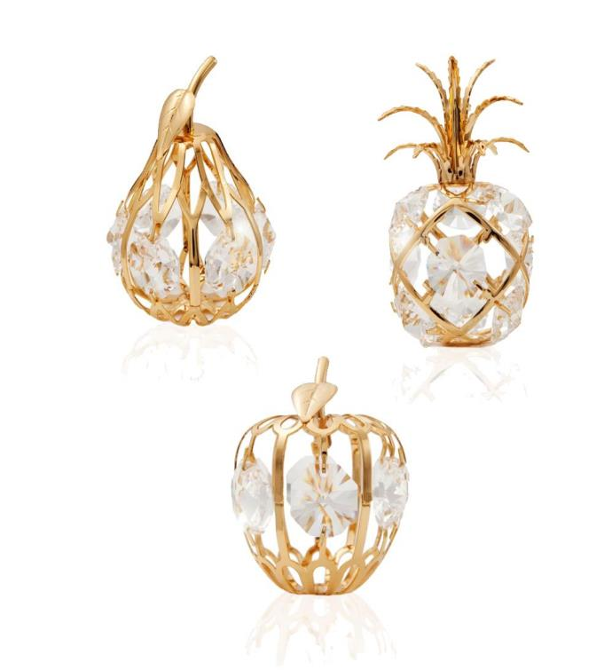 Gold Plated Crystal Mini Fruit Ornaments Kit