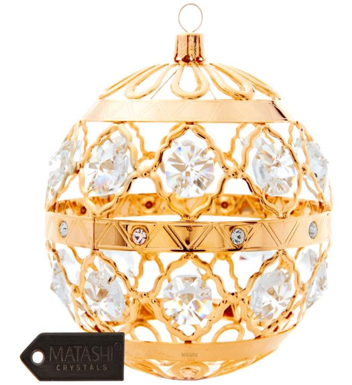 Gold Plated Crystal Christmas Ball Ornament
