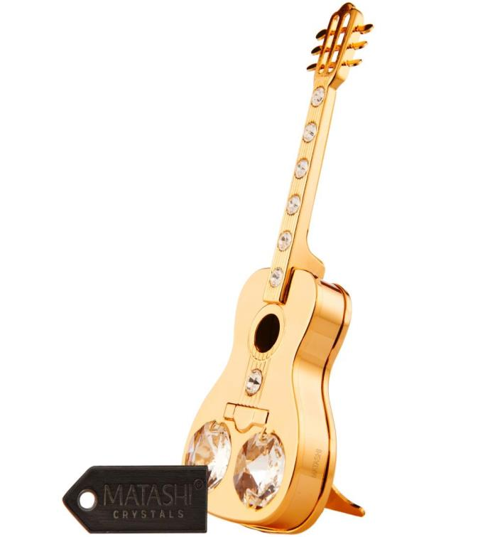 Gold Plated Crystal  Acoustic Guitar Ornament