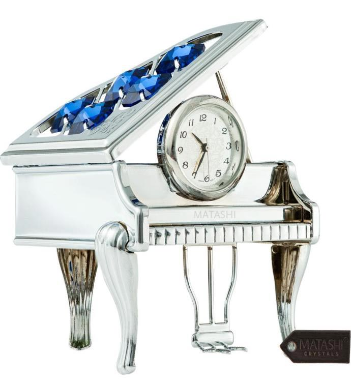Chrome Plated Silver Vintage Piano Desk Clock