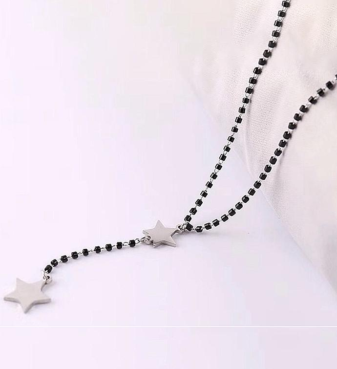 Black Beaded Star Y Necklace