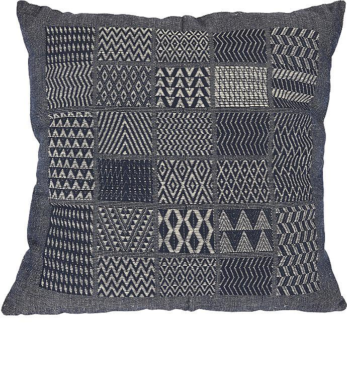 Artisan Hand Loomed Cotton Square Pillow - Indigo Blocks - 24