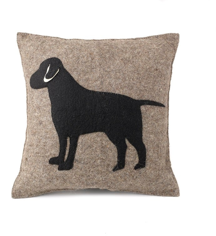 Handmade Cushion Cover - Black Lab on Gray