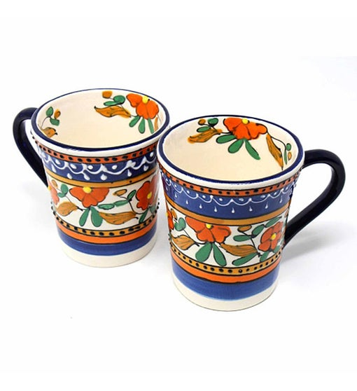 Hand-painted Mexican Talavera Mug, Orange and Blue, Set of Two