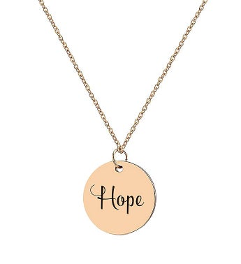 Round Hope Engraved Motivational Polished Disc Stainless Steel Necklace Free Gift Box