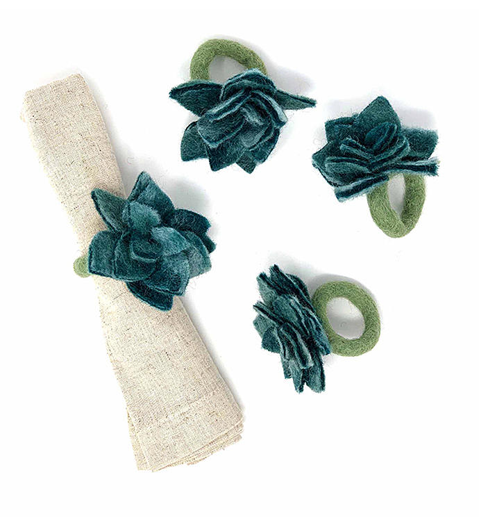Succulent Napkin Rings - Set Of 4