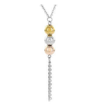 High Polished Sphere Cz Stainless Steel Tassel Necklace