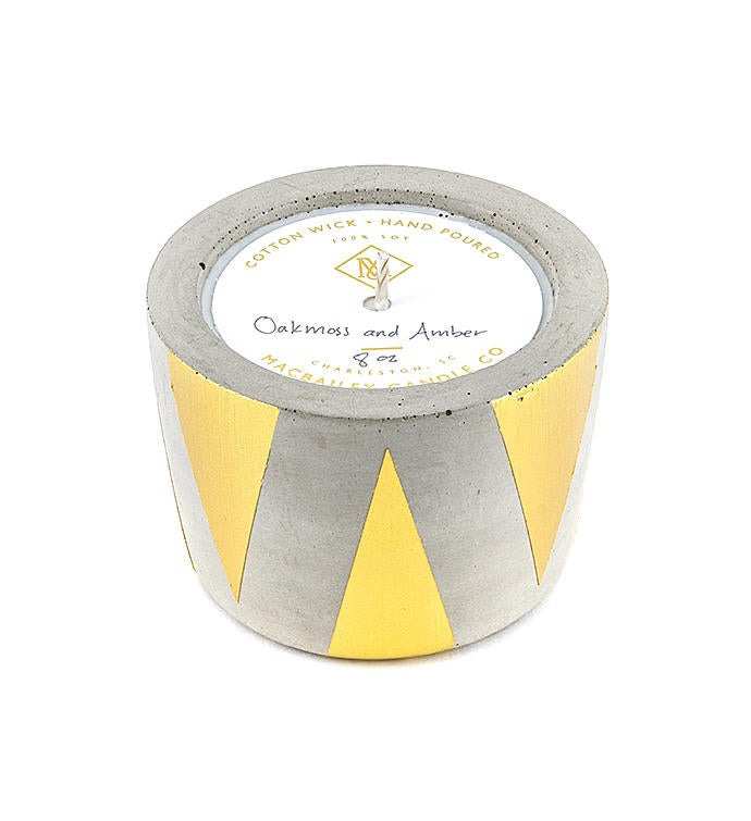 Gold Triangle Concrete Candle