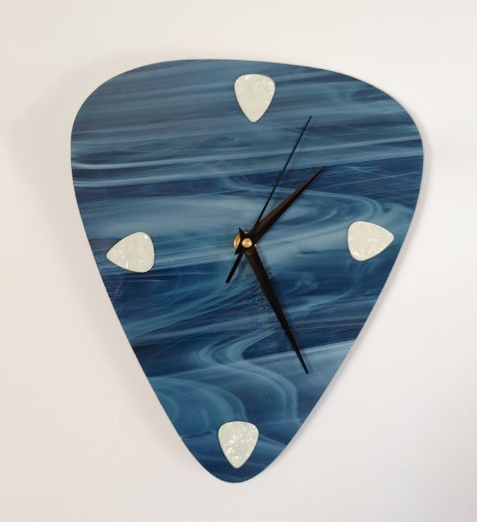 Art Glass Electric Guitar Pick Wall Clock
