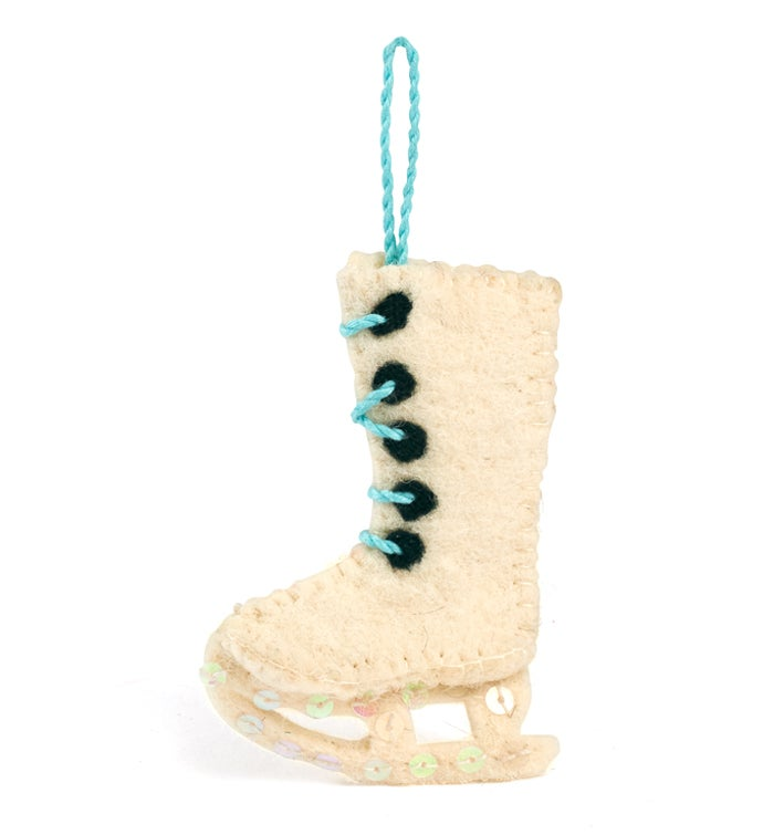 Handmade Felt Ice Skate Christmas Ornament