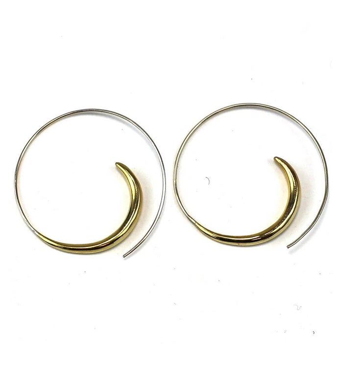 Brass Rip Curl Spiral Earrings