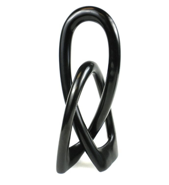 Handmade Natural Soapstone 10-inch Lover39s Knot In Black