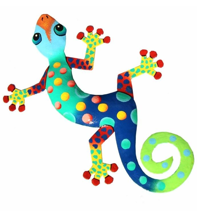 Handmade 1334 Recycled Steel Painted Florida Gecko