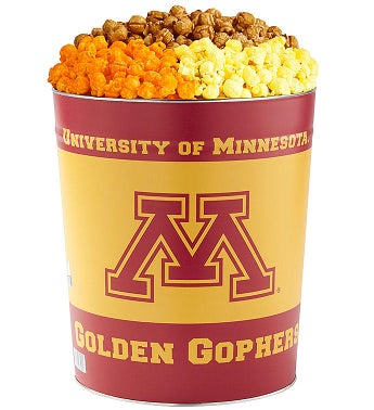 3 Gallon University of Minnesota 3-Flavor Popcorn Tins